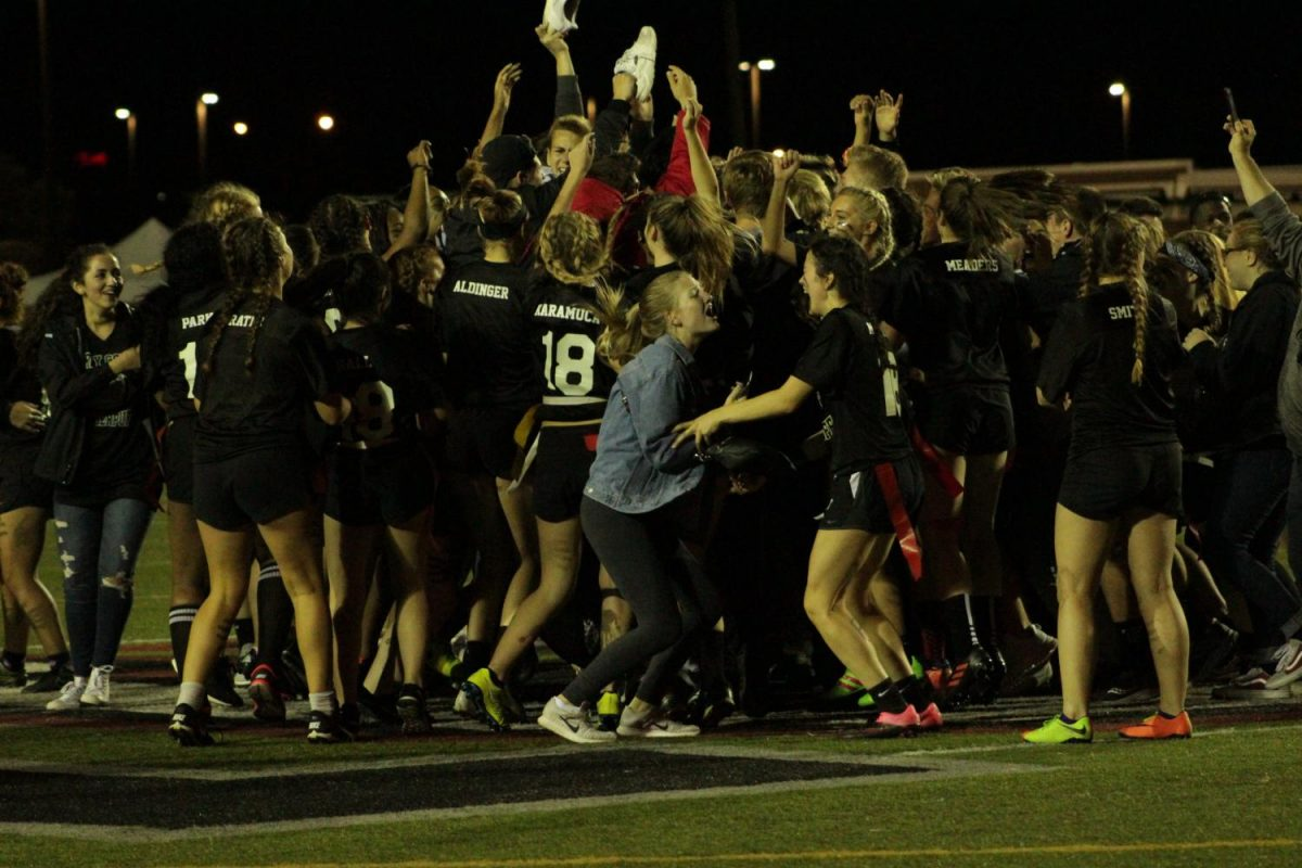 Senior Claire McAuliffe celebrates the senior's victory.