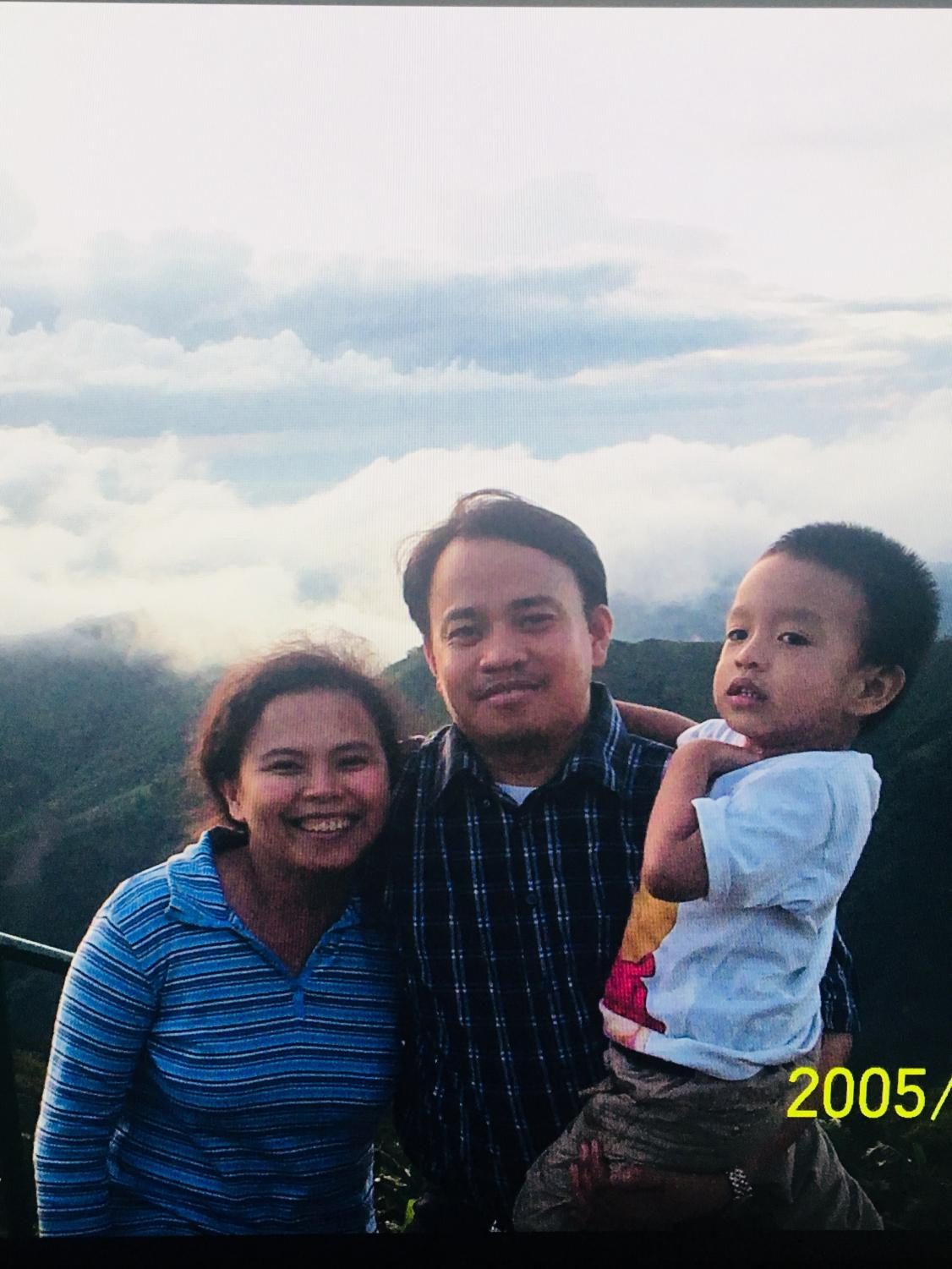 Sophomore Sam Medallo with his family in the Phillippines in the year 2005.