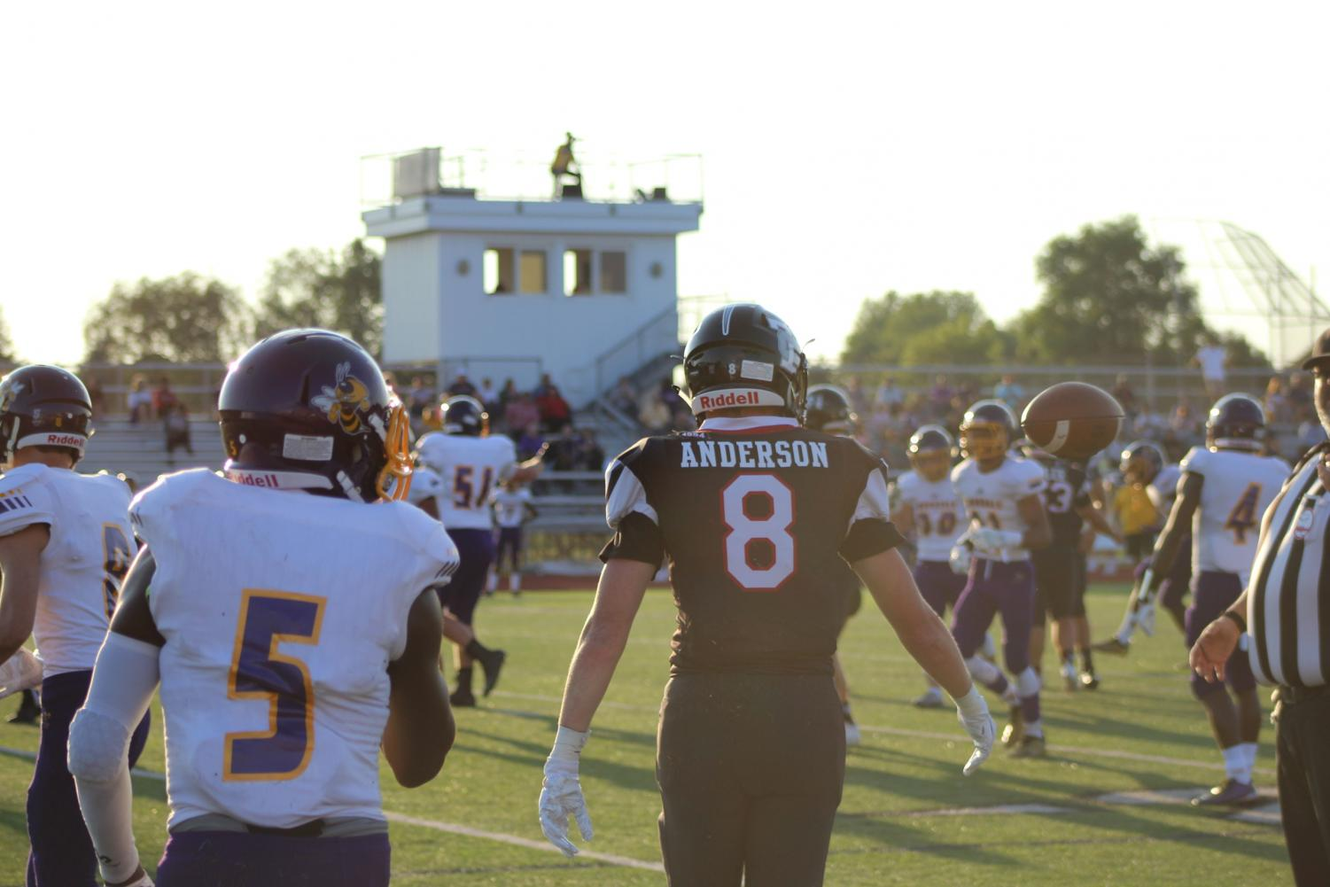 Junior Blake Anderson walks onto the field during the Colts' game against Avondale on Aug. 23.