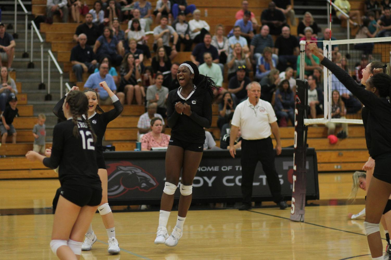 Senior Jessica Robinson in a moment of triumph at a game.