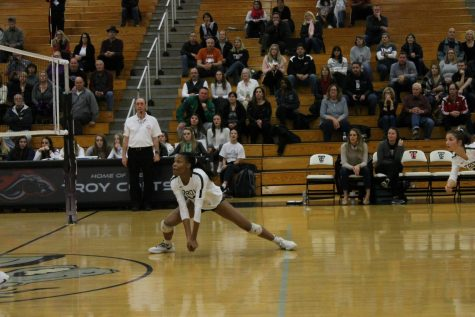 Getting low to the ground, McBride prepares to retrieve the ball.