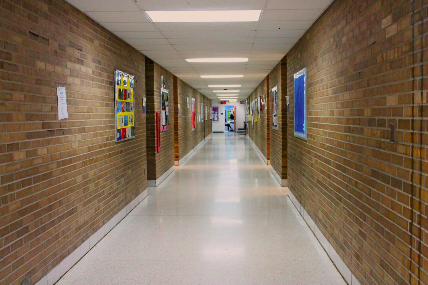 Troy College and Career High School, their single hallway of classrooms.